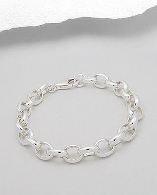 925 Sterling Silver Oval Link Belcher Chain Bracelet